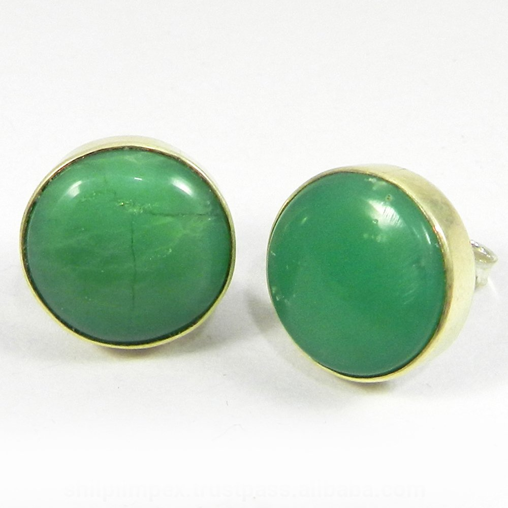Fabia Natural Chrysoprase round Stud earring
