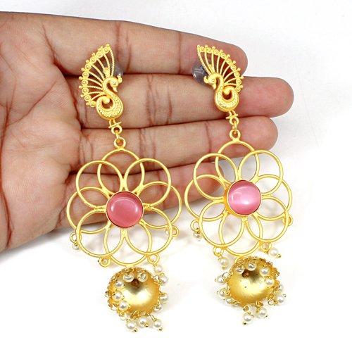 Factory Wholesale Handmade Earring Pink Cat's Eye & Pearl Gemstone Earring Peacock Designer Hanging Dangling Women Wedding Drops