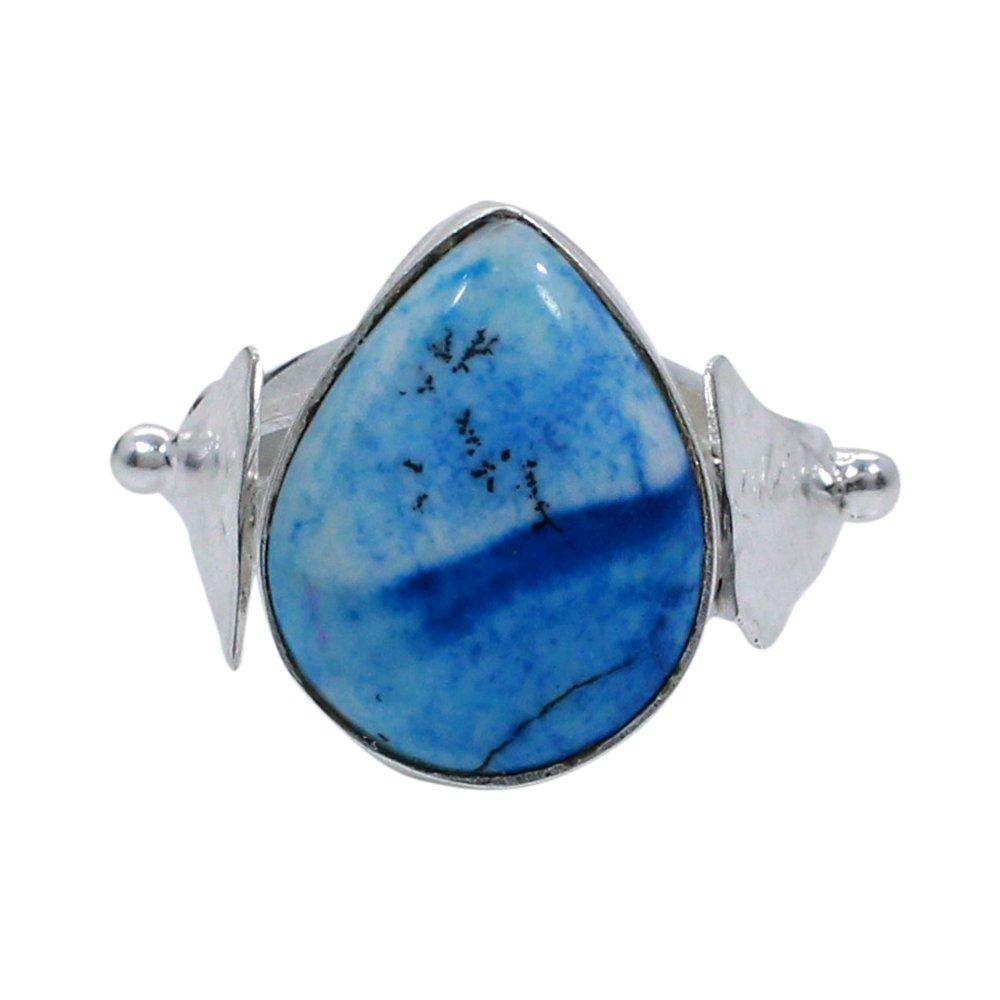 Fancy Jasper Silver Plated Bezel Set Simple Ring