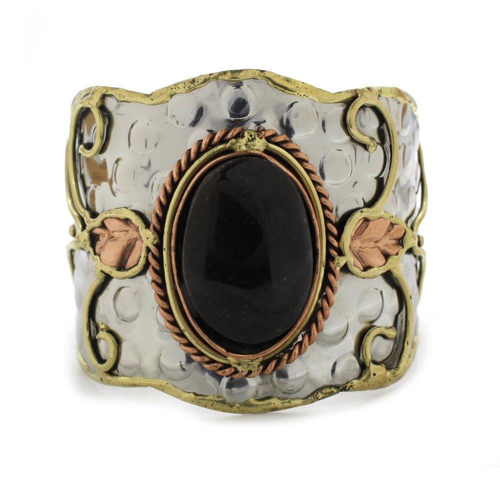 Fancy Jasper Swirls Brass Cuff Bracelet