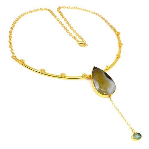 Fashion Jewelry Botswana Agate & Aqua Crackle Glass Gemstone Necklace Designer Chain Pendant Necklace