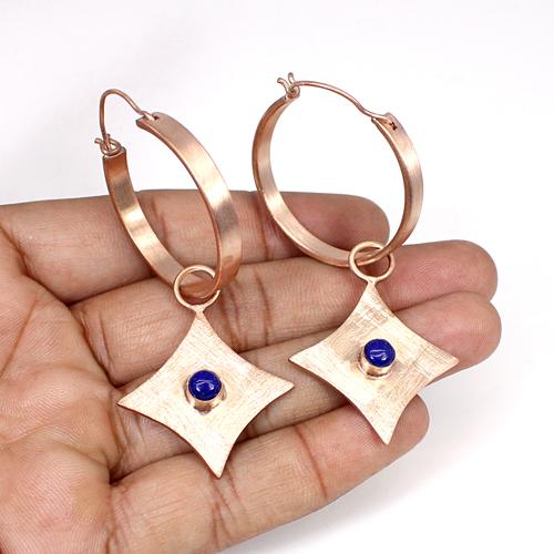 Fashion Statement Earring Natural Lapsi Lazuli Gemstone Earring Geometric Designer Hanging Dangling Women Rose Gold Plated Drops