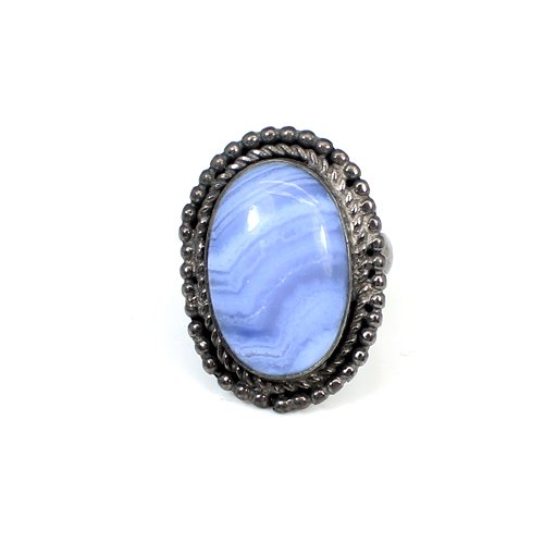 Fashion Wedding Jewelry Natural Blue Lace Agate Gemstone Ring Black Ruthenium Plated Ring Mens Huge Cocktail Rings Handmade Ring
