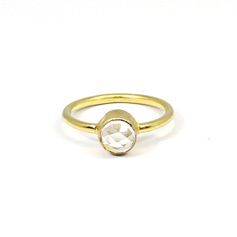 Fashionable Collection Crystal Quartz Gemstone Ring Solid 925 Sterling Silver Ring Minimalist Dainty Ring Women Stackable Tiny Ring