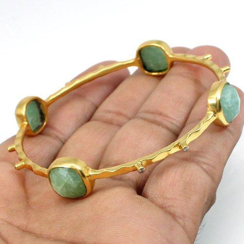 Fashionable Jewelry Milky Aquamarine & Cz Bangle Hammered Designer Gold Plated Bangle