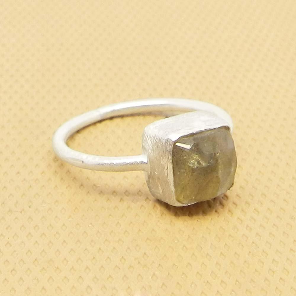 Fiery Labradorite 925 Sterling Silver Matte Finish Bezel Ring