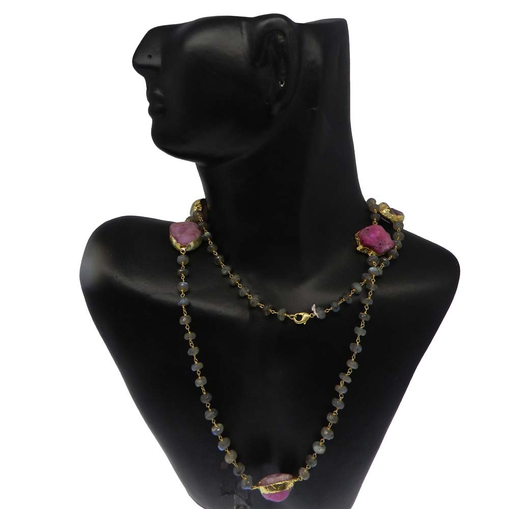 Fiery Labradorite & Pink Druzy Gold Plated Link Chain Beaded Necklace