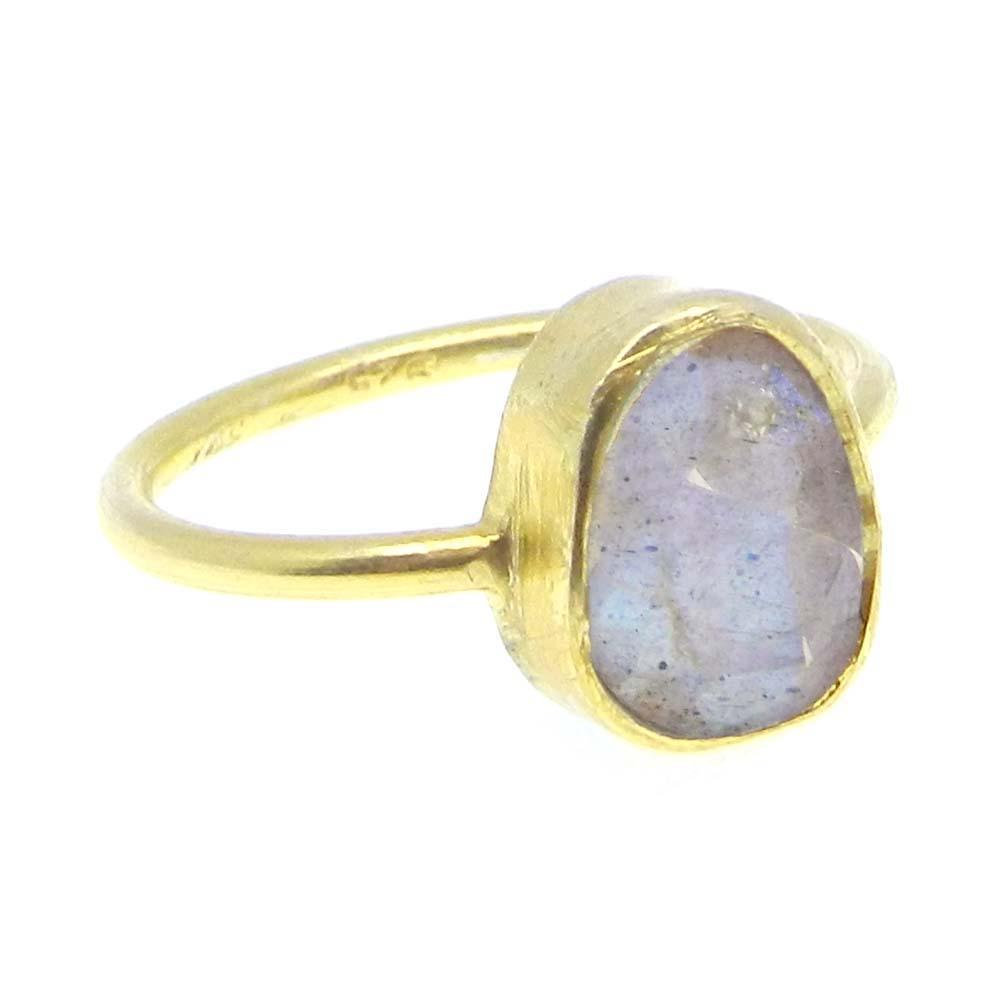 Fiery Labradorite Silver Gold Plated Fancy Bezel Set Ring