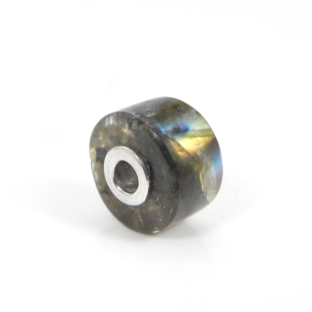 Fiery Labradorite Smooth Flat Big Hole Silver Core Beads For Making Jewelry