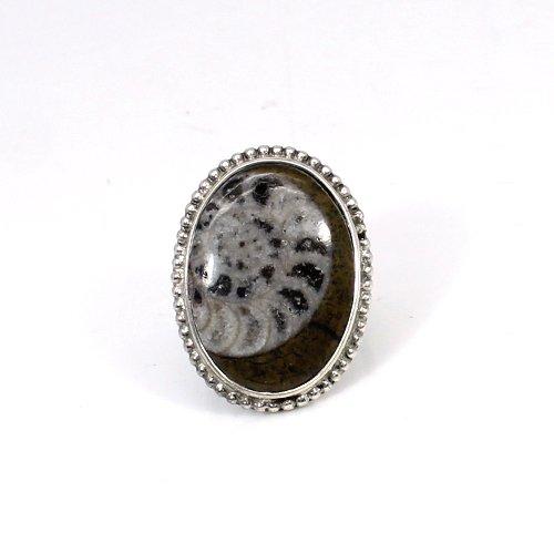 Fine Bezel Ring Brown Ammonite Gemstone Ring Solid 925 Sterling Silver Ring Designer Beachwear Jewelry Huge Boho Rings