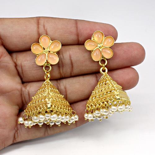 Fine Jewelry Collection Rose Chalcedony & Pearl Gemstone Jhumkas Vermeil Women Dangling Wedding Anniversary Gift Drop Earring