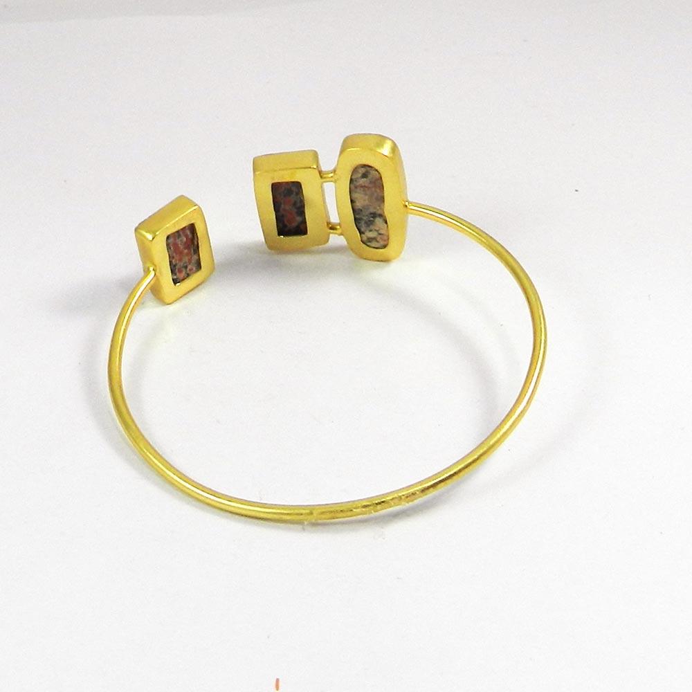 Fireworks Obsidian Gold Plated Adjustable Bezel Bangle