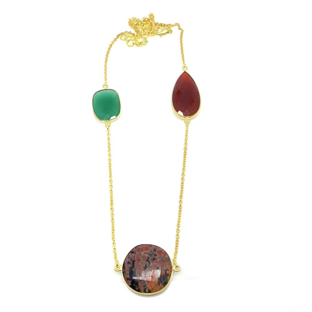 Fireworks Obsidian,Red & Green Onyx Gold Plated 22 inch Long Chain Necklace
