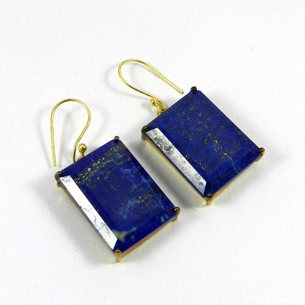 Fleur Lapis Lazuli Gold Plated Prong Set Earrings