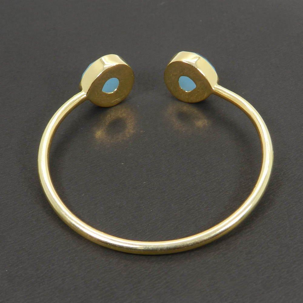 Flora Aqua chalcedony gold plated Adjustable cuff bracelet