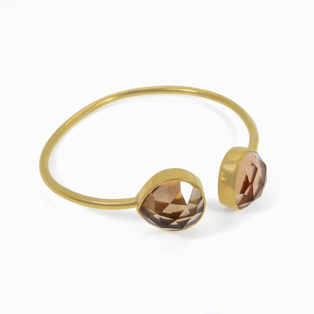 Flora Champagne hydro gold plated Adjustable cuff bracelet