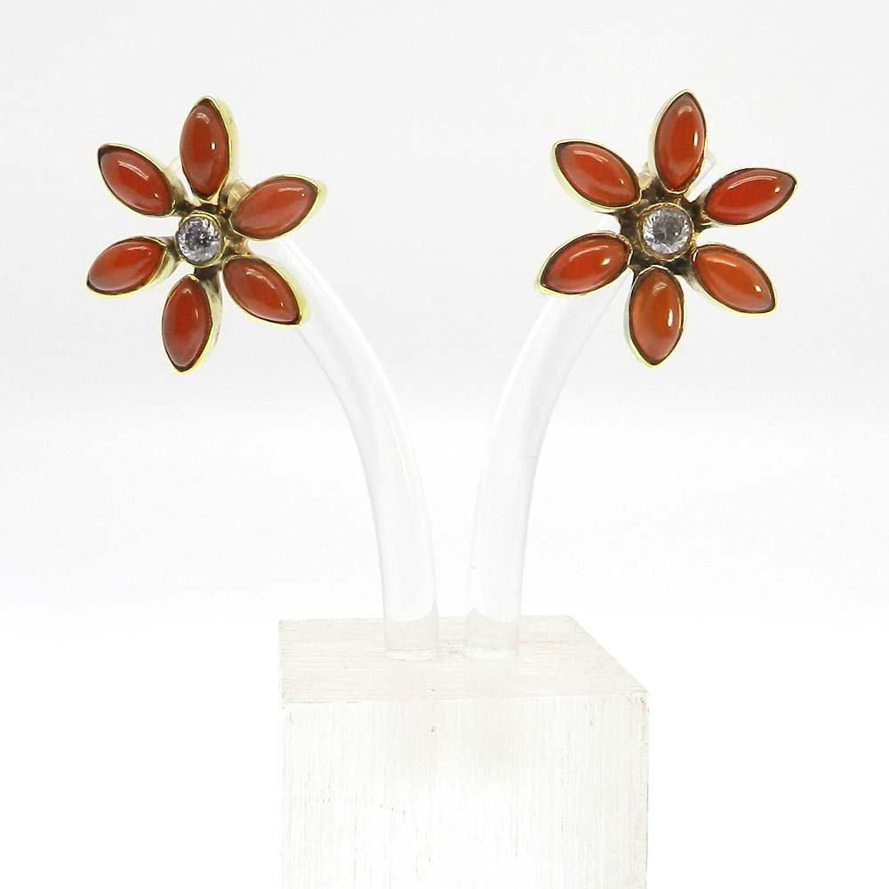 Flora Red Onyx & CZ Gold Plated Flower Designer Bezel Stud Earring