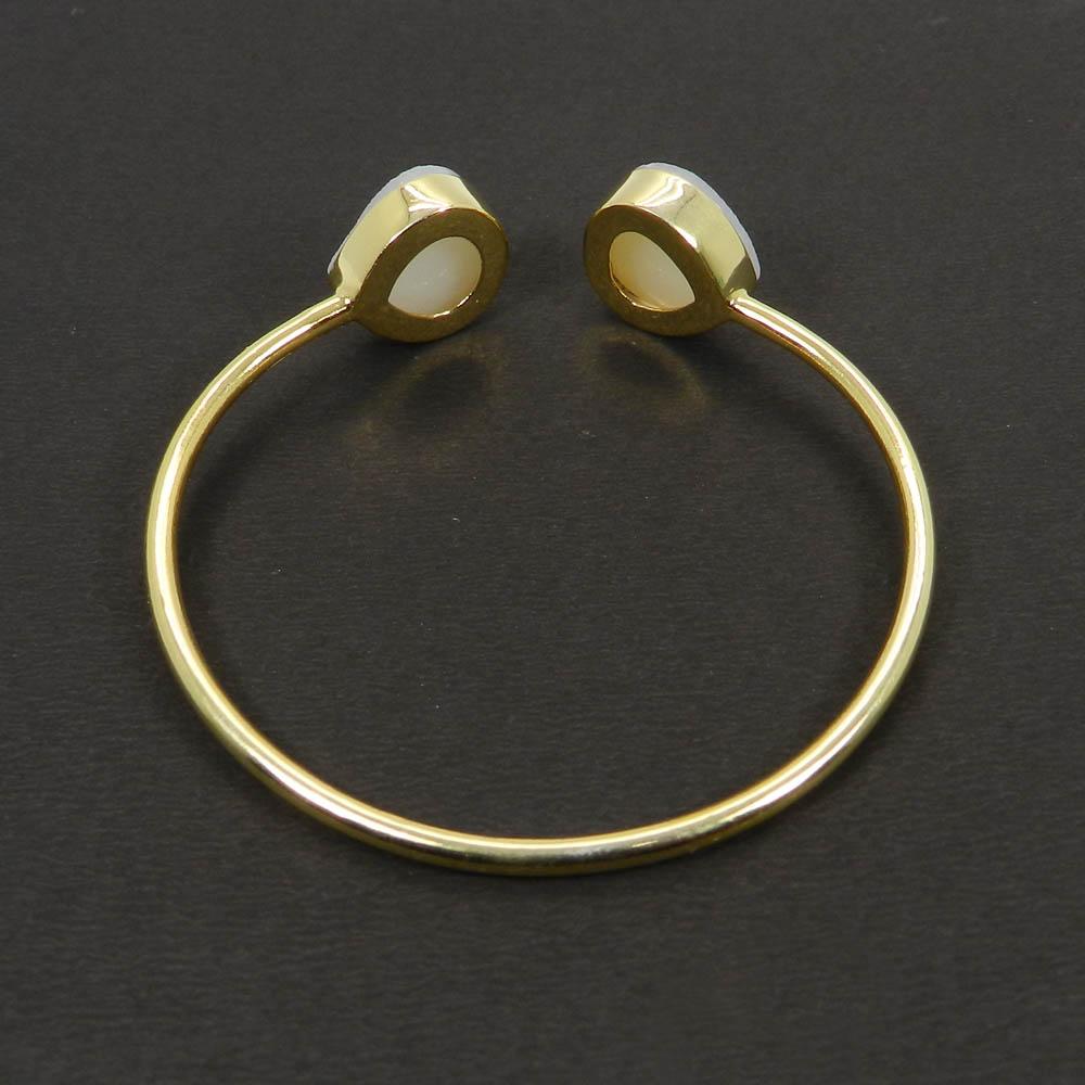 Flora White druzy gold plated Adjustable cuff bracelet