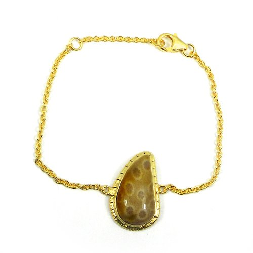 Fossil Coral 925 Sterling Silver Gold Plated Handcrafted Chain Bracelet