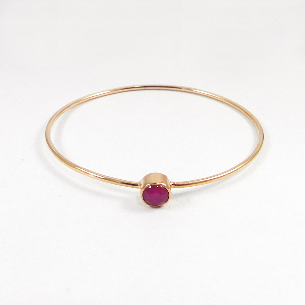 Freda Fuchsia Chalcedony Silver Rose Gold Plated Bezel Bangle