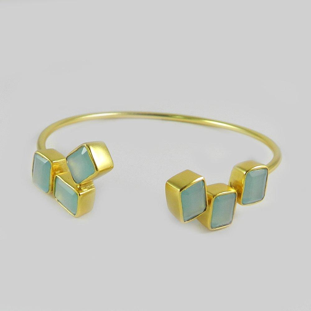 Freida Gemstone designer gold plated bracelet