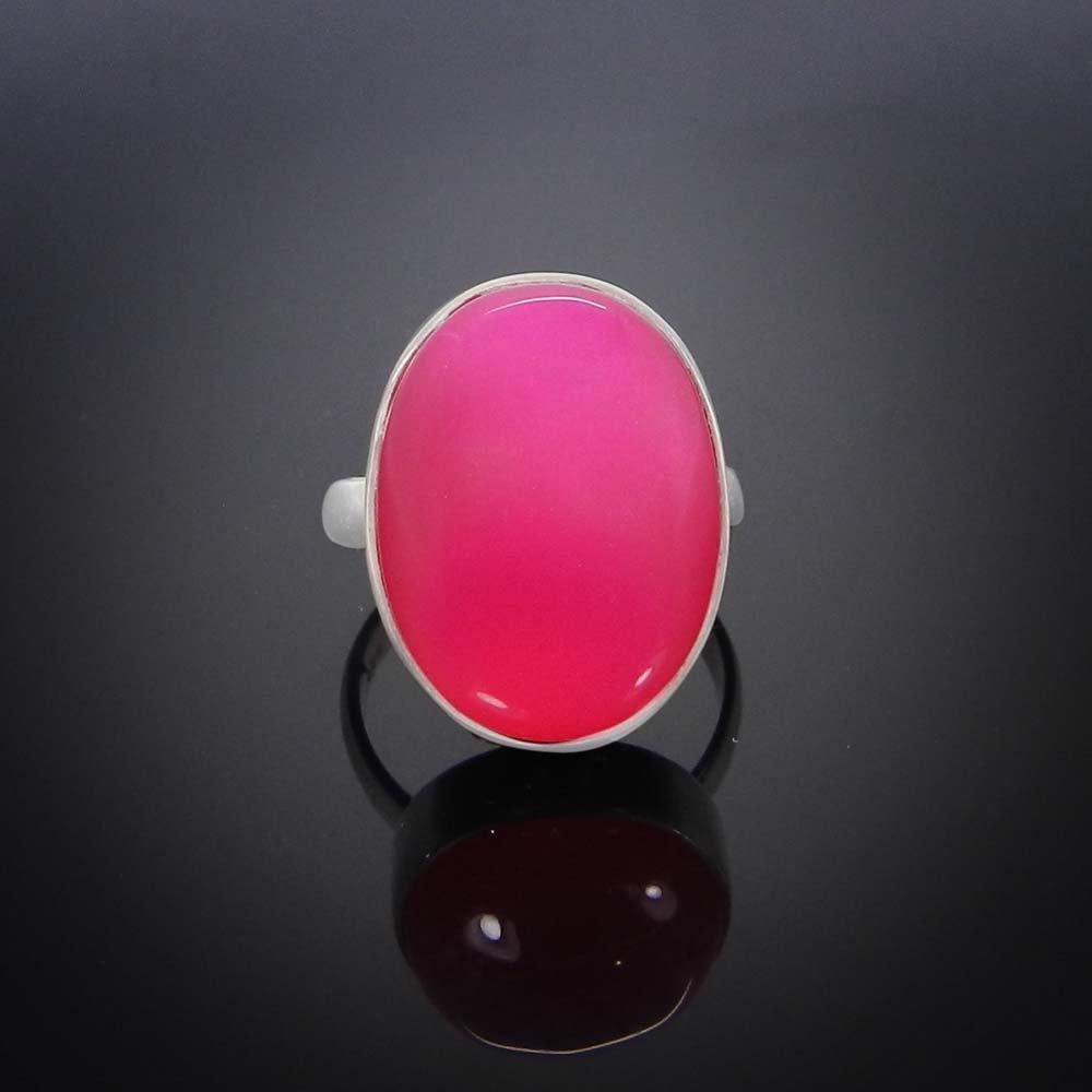 Fuchsia Chalcedony 925 Sterling Silver Bezel Set Ring