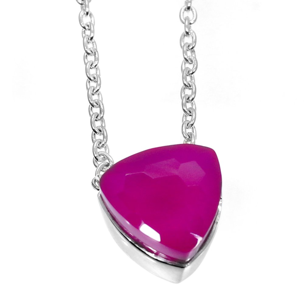 Fuchsia Chalcedony 925 Sterling Silver Long Chain Necklace