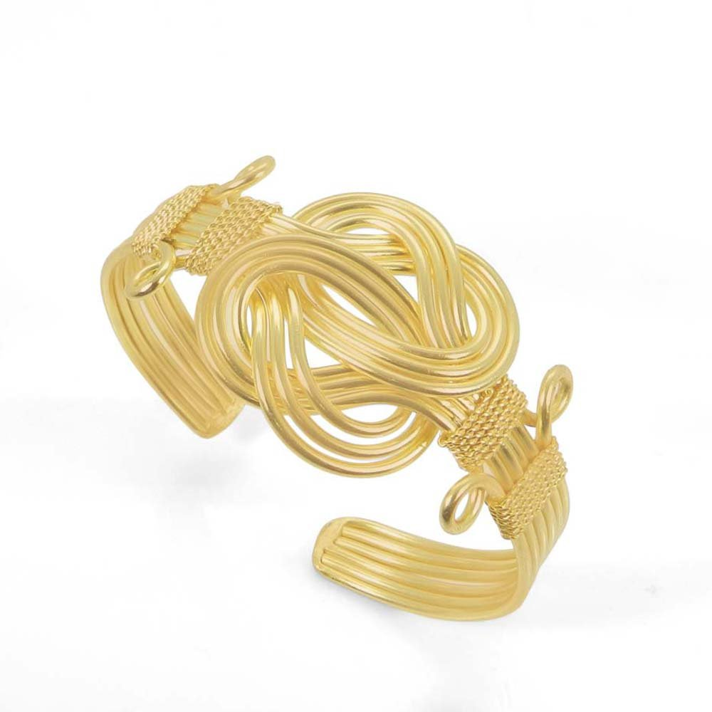 Gabina Wire Crafted Gold Plated Adjustable Cuff Bracelet