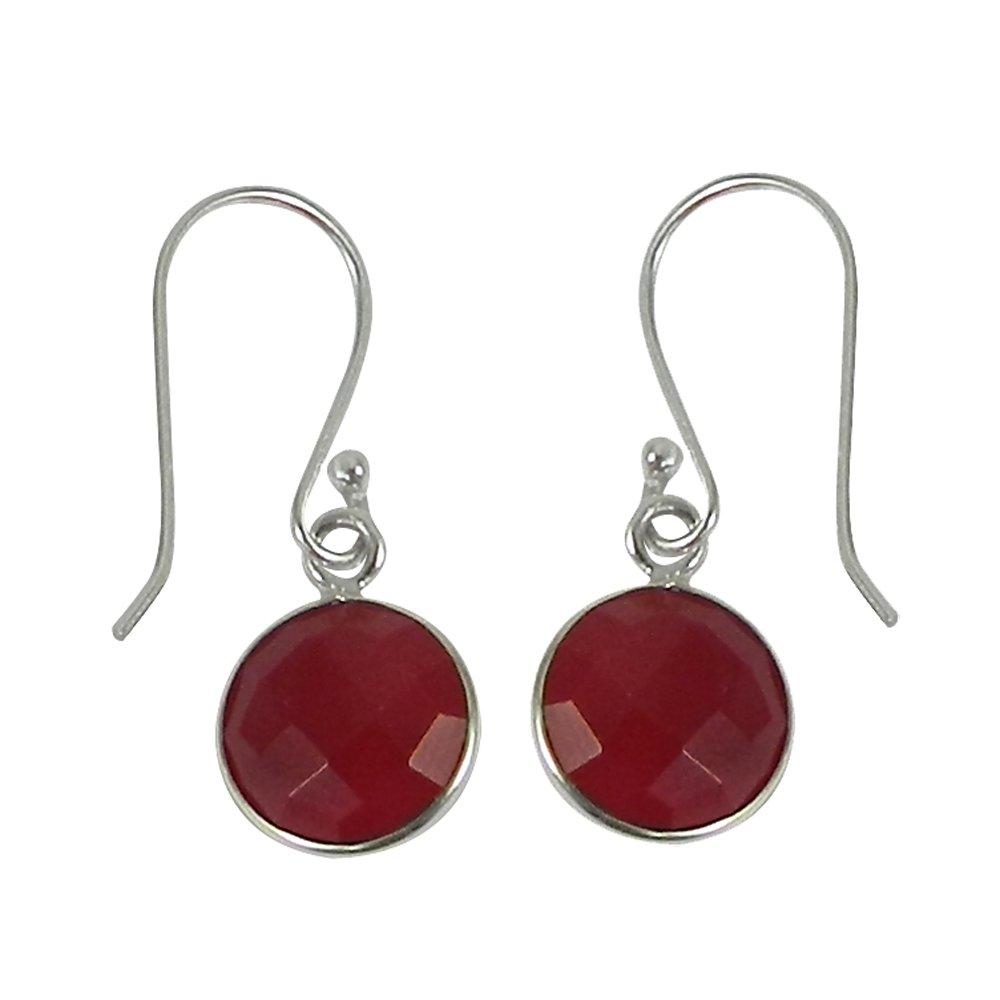 Ganit Gemstone round silver dangle earring