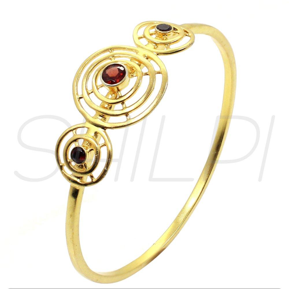 Garnet Hydro Gold Plated Designer Handmade Bangle Bracelet
