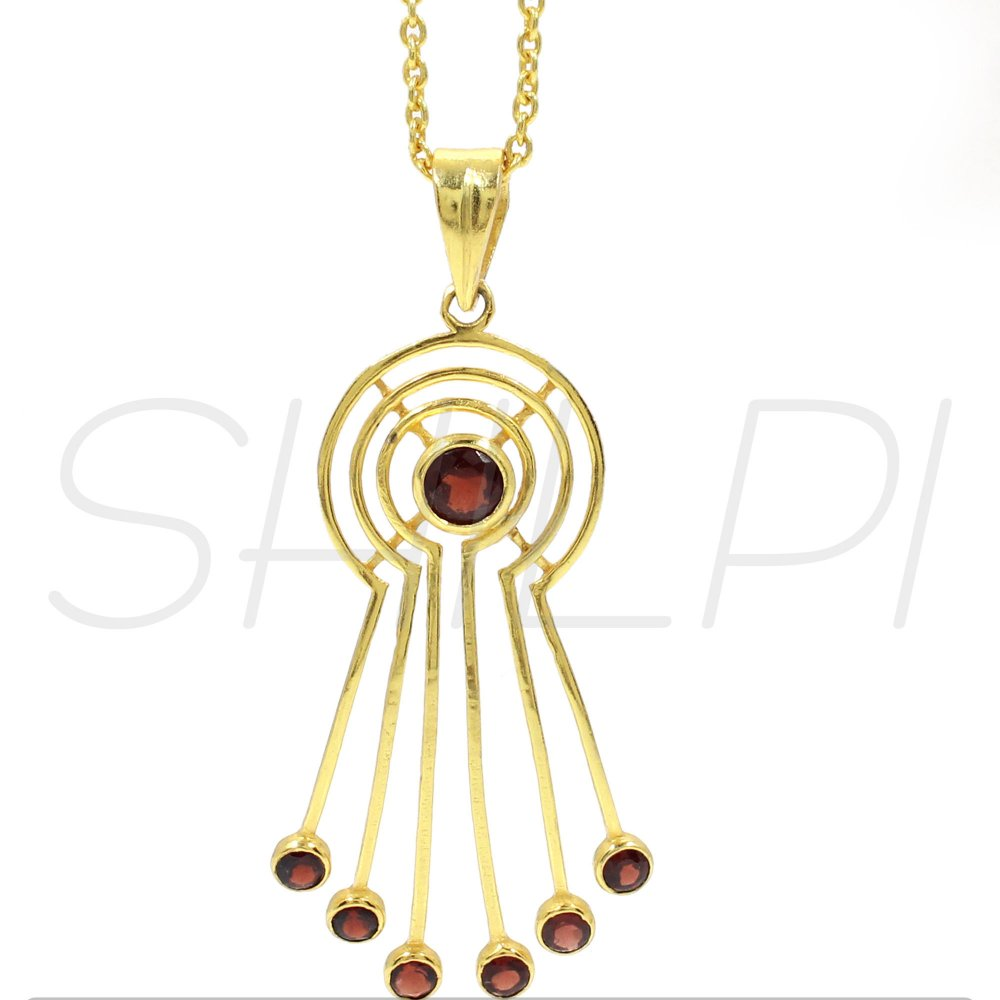 Garnet Hydro Gold Plated Long Chain Designer Necklace
