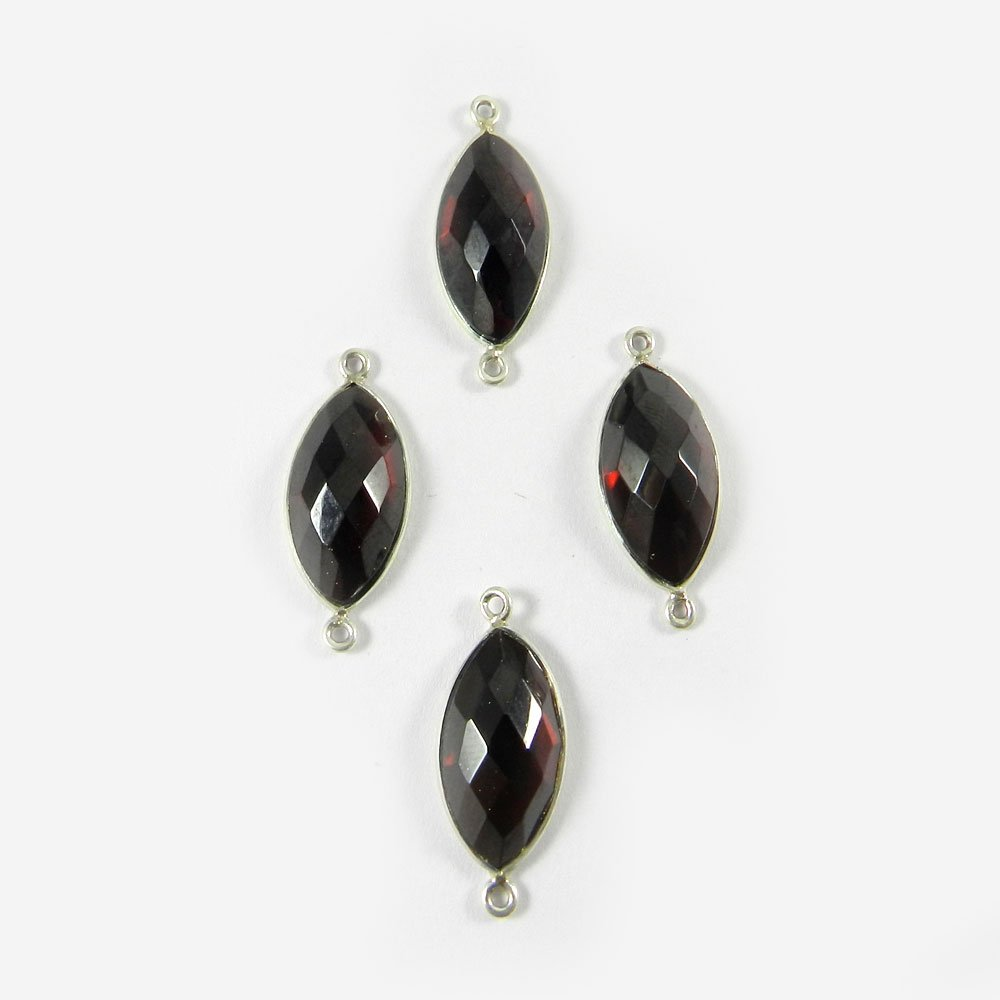 Garnet Hydro Marquise 27x11mm 925 Sterling Silver Double Loop Connector