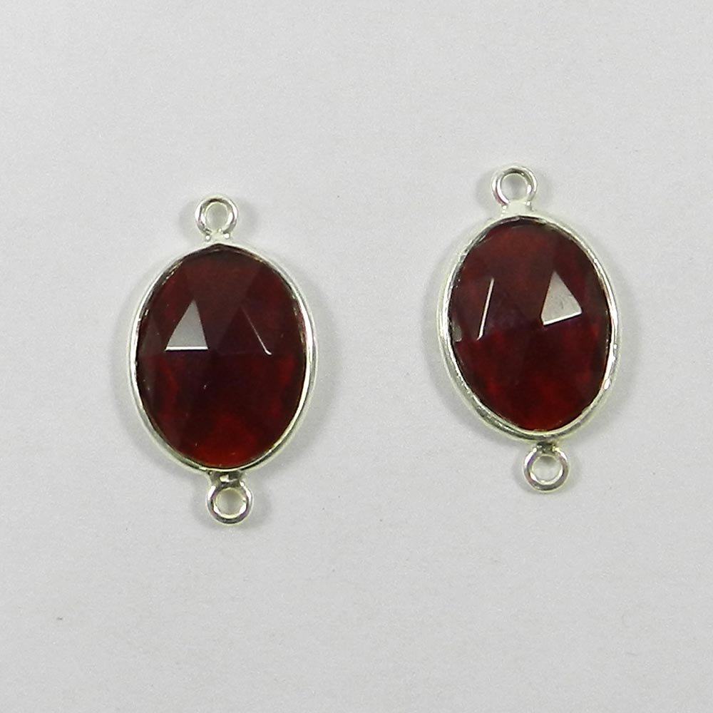 Garnet Hydro Oval 24x14mm 925 Sterling Silver Double Loop Connector
