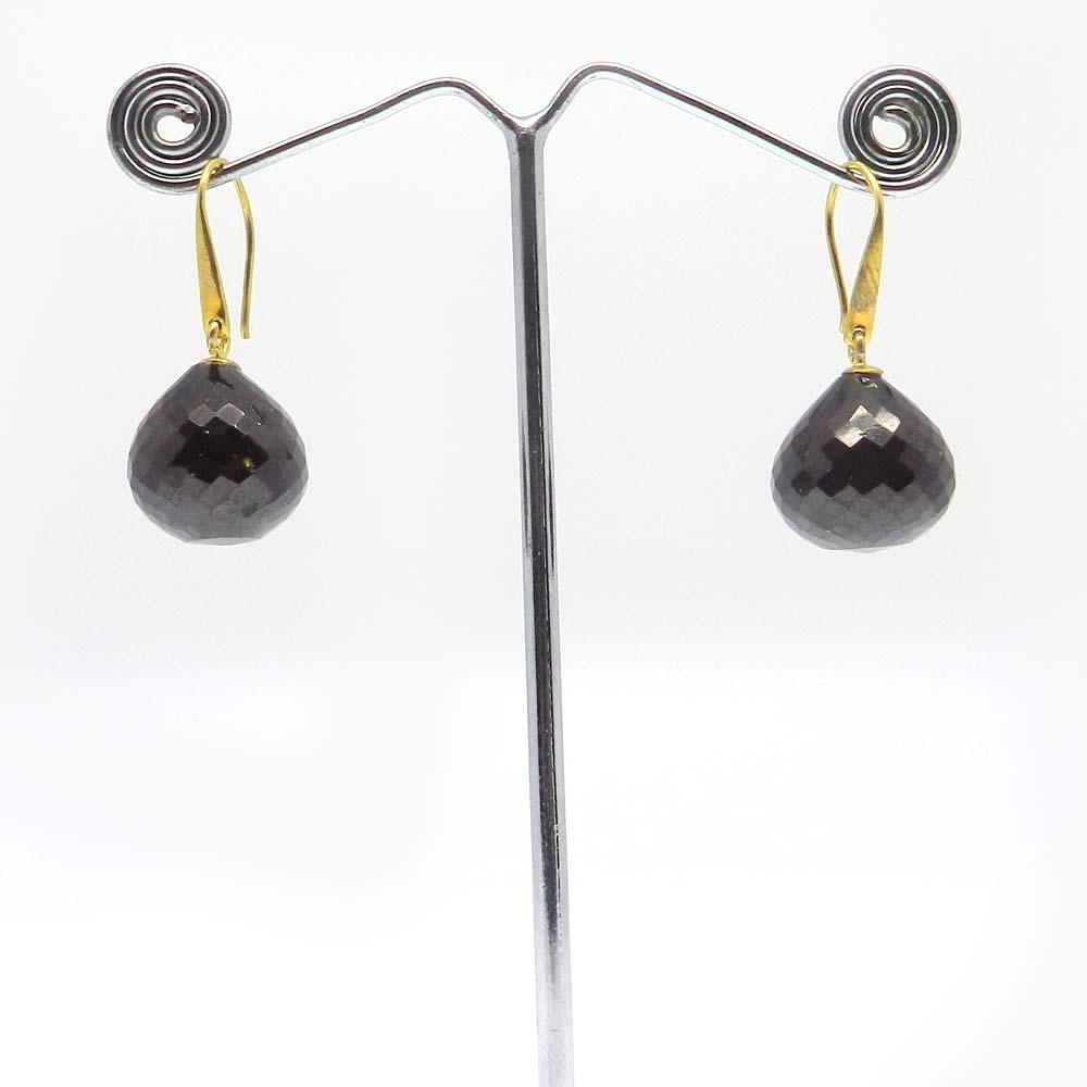 Garnet Nano Onion Shape Gold Plated Dangle Earring