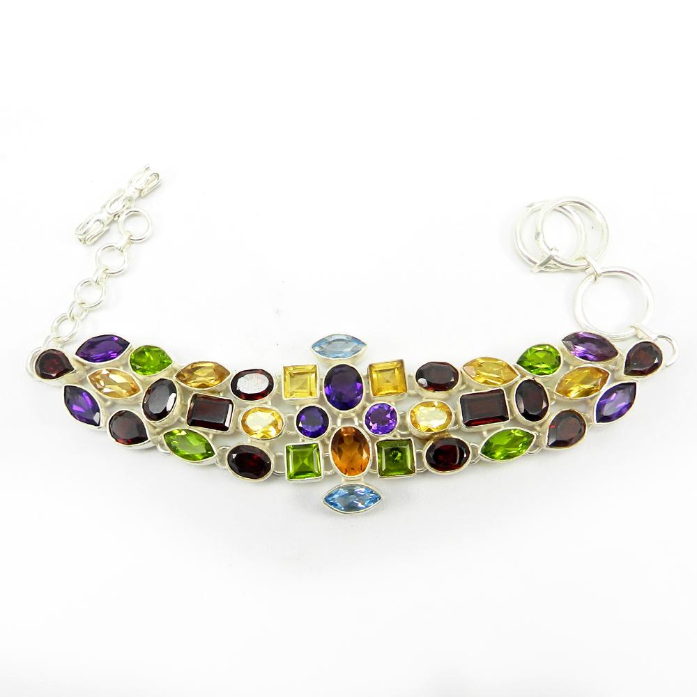 Garnet,Citrine,Peridot,Topaz Silver 8.5 inch Link Chain Bracelet