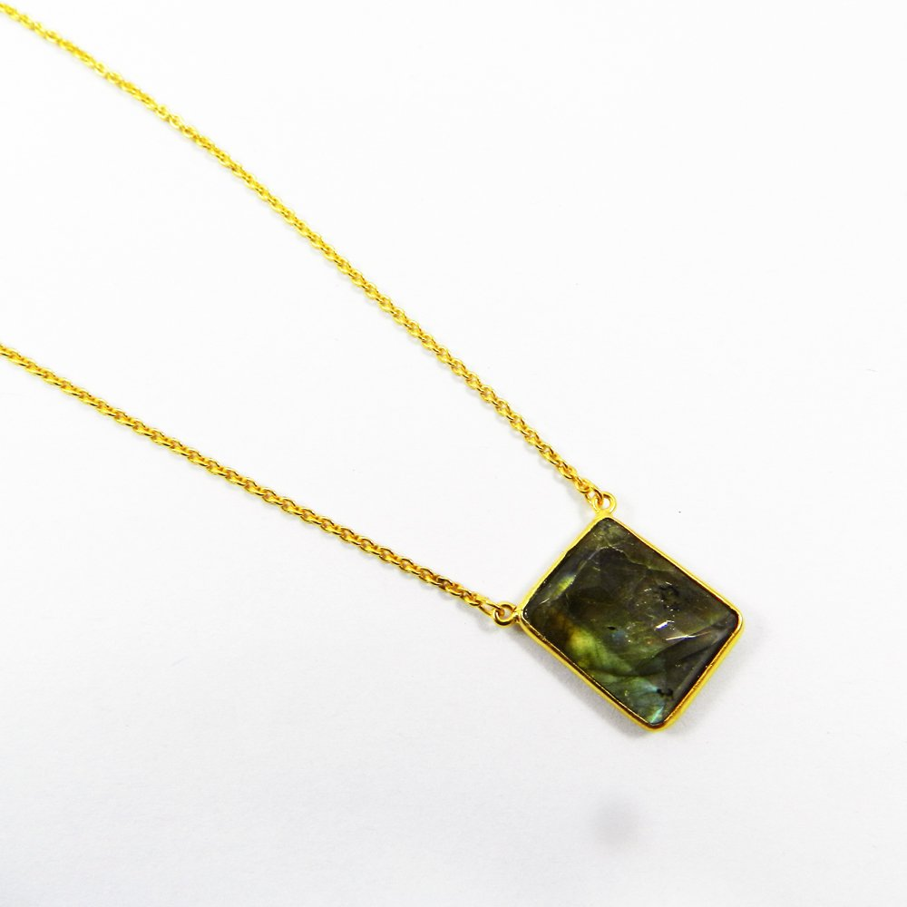 Gemstone 18k Gold Plated 20 inch Long Chain Adelia Necklace