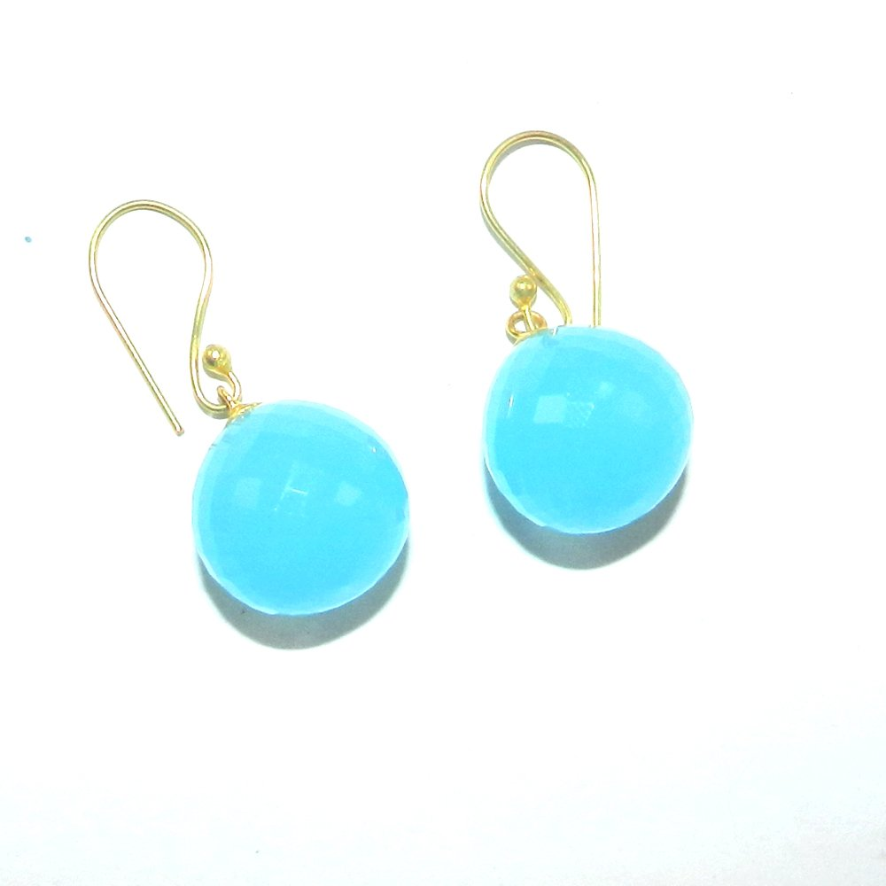 Gemstones drop gold plated earring