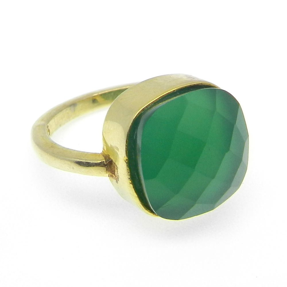 Genuine Green Onyx Gemstone Ring Solid 925 Sterling Silver Ring Bohemian Handmade Bezel Ring Unisex Ring Stackable Ring