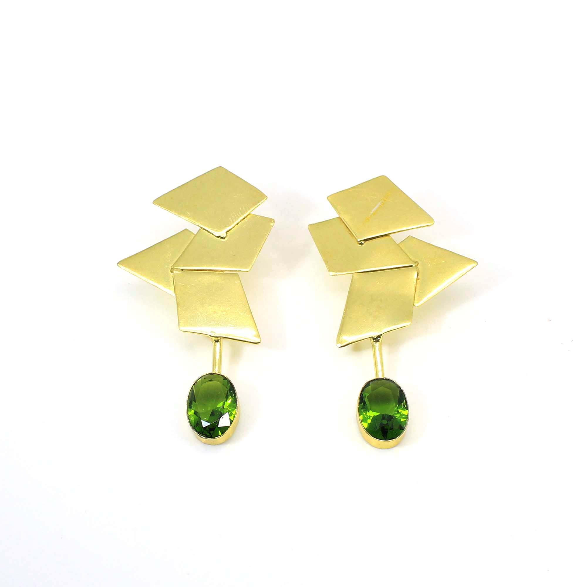 Glossy Peridot Hydro Gemstone Flash Gold Plated Fashion Stud Dangle Earring For Women