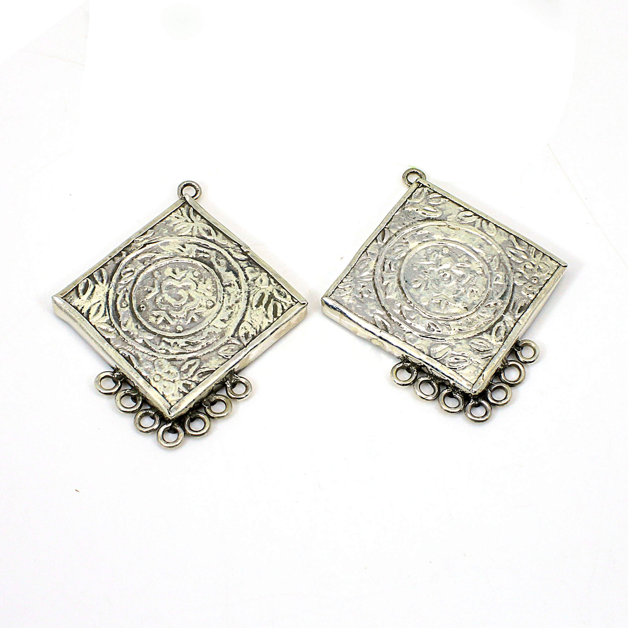 Goddess Durga 925 Sterling Silver Indian Temple Hand Painted Glass Eight Loop Connector