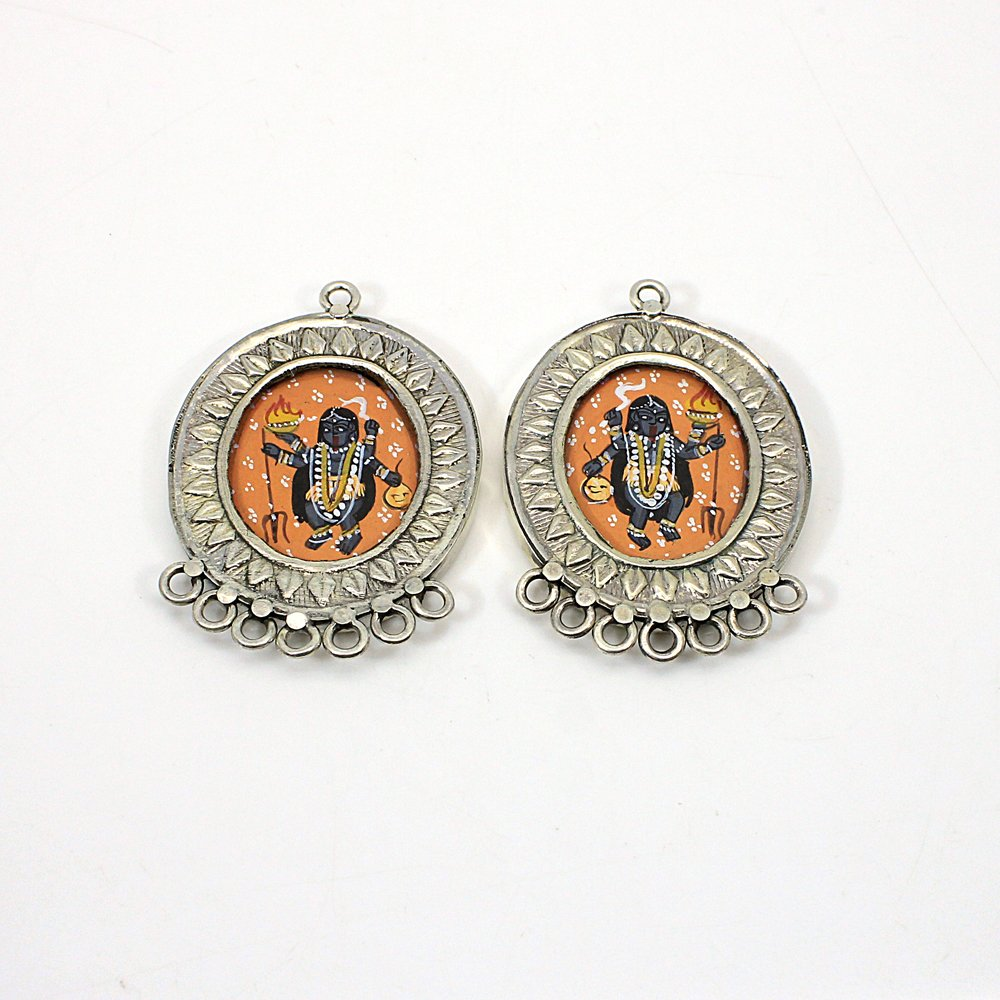 Goddess Kali 925 Sterling Silver Hand Painted Eight Loop Connector