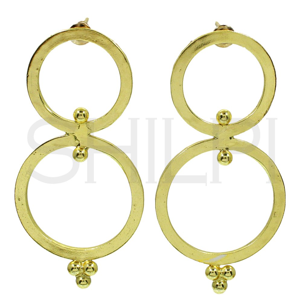 Gold Plated Designer Double Round Circle Handmade Stud Earrings