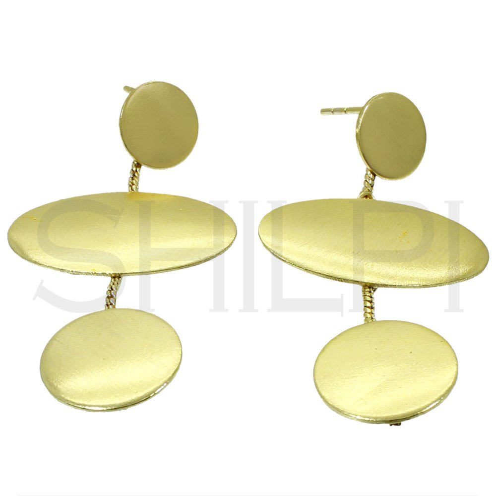 Gold Plated Designer Handmade Chain With Plain Plate Stud Earrings