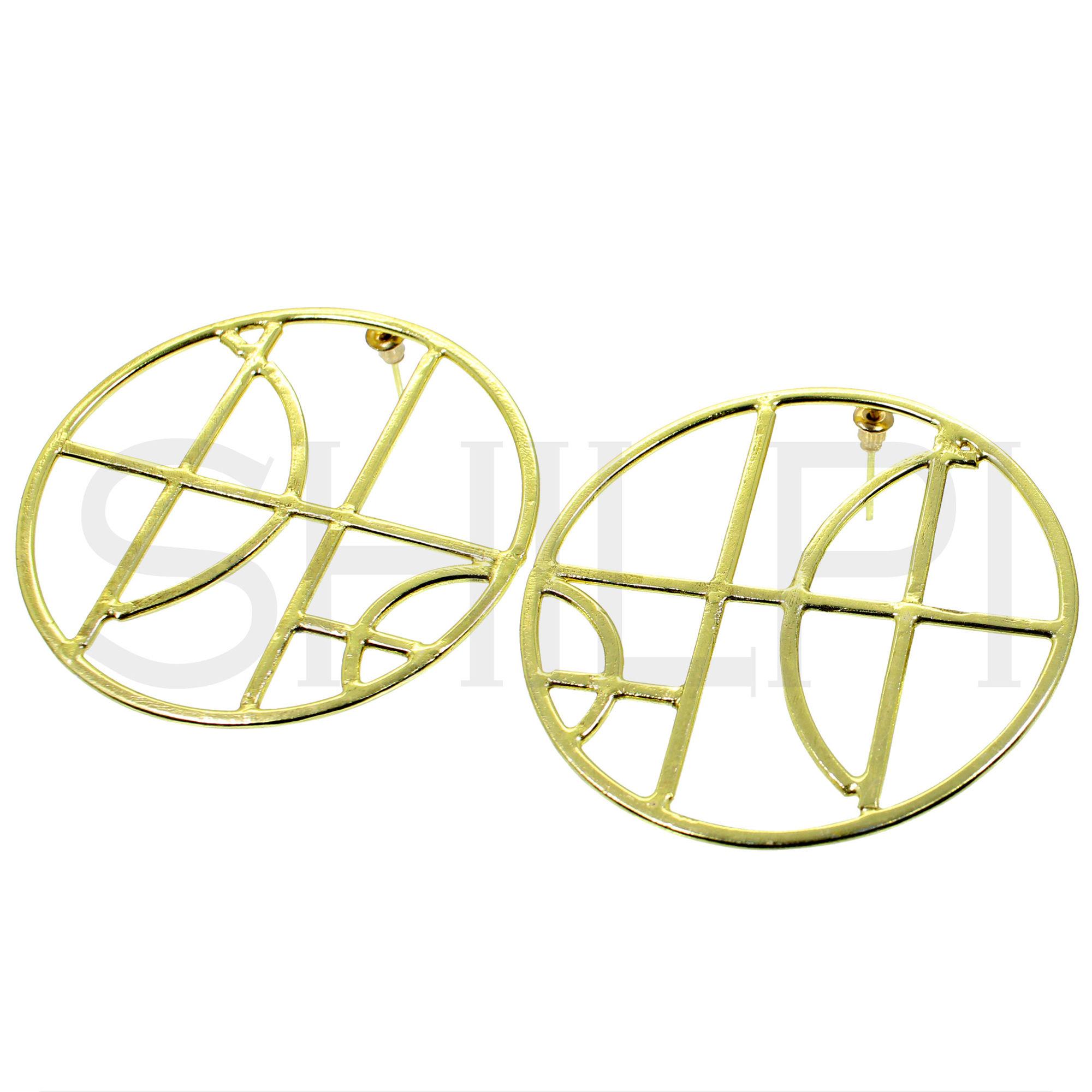 Gold Plated Designer Handmade Large Round Stud Earrings