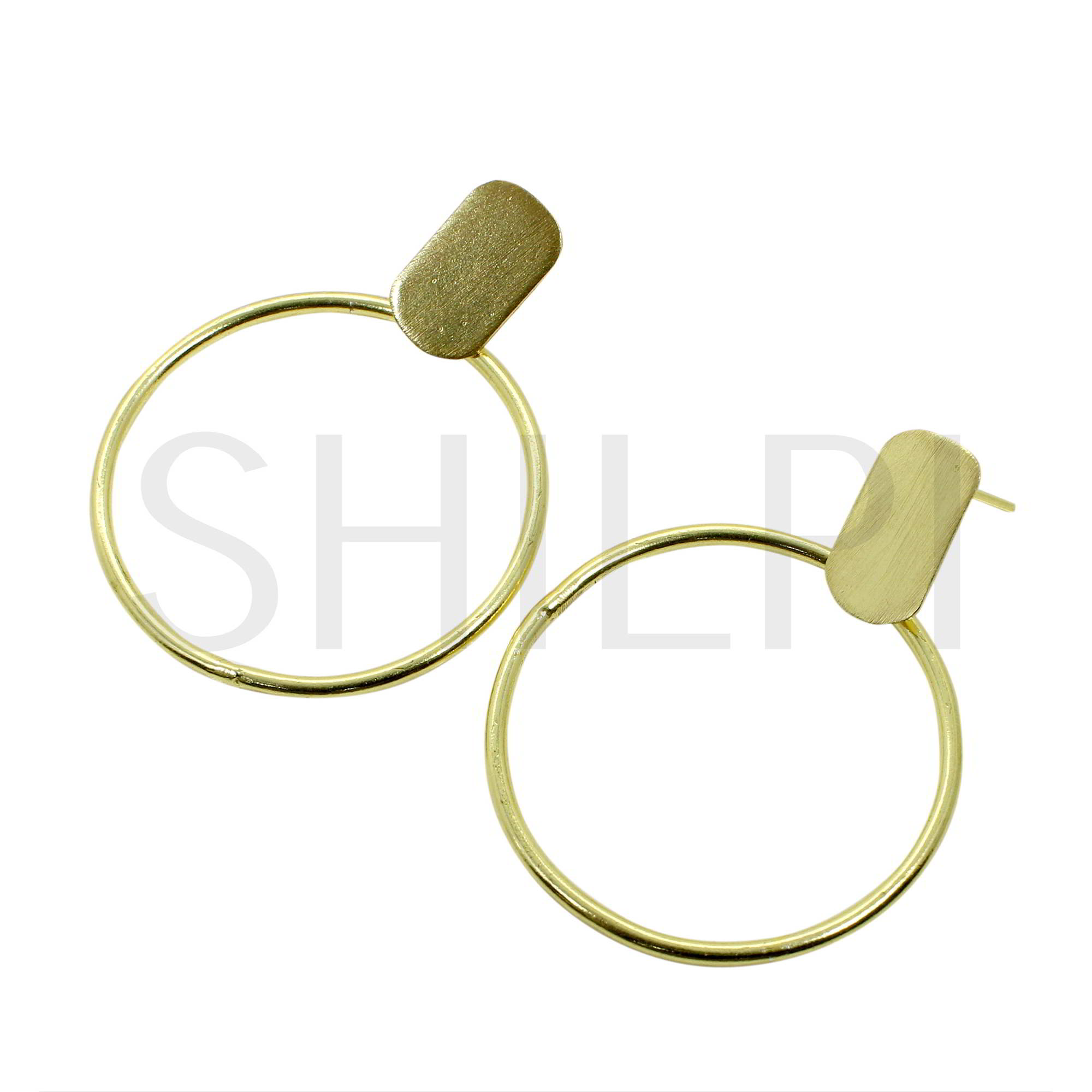 Gold Plated Hammered Large Circle With Plain Plated Stud Earrings