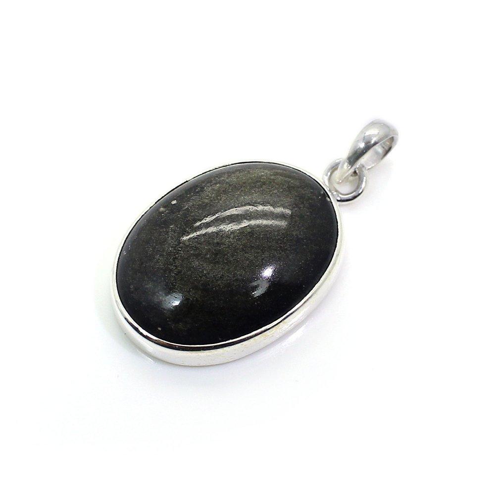 Gold Sheen Obsidian 925 Sterling Silver Pendant