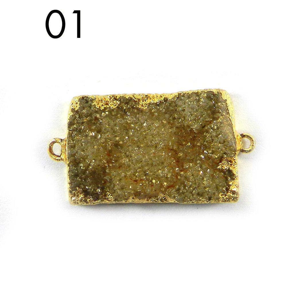 Golden Druzy Gold Electroplated Designer Double Loop Connector