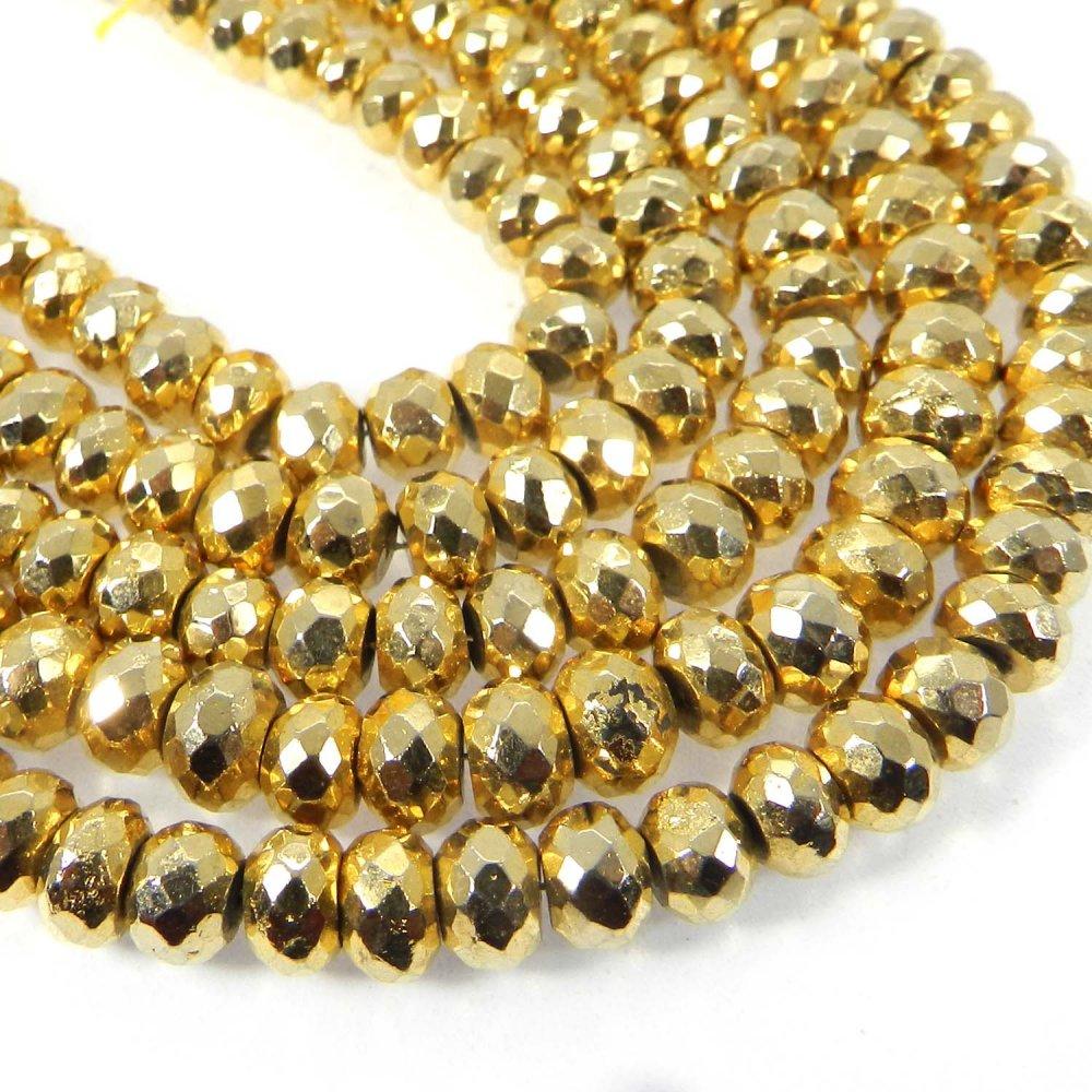 Golden Pyrite 7mm Roundel Facet Fool's Gold Gemstone Strand Beads