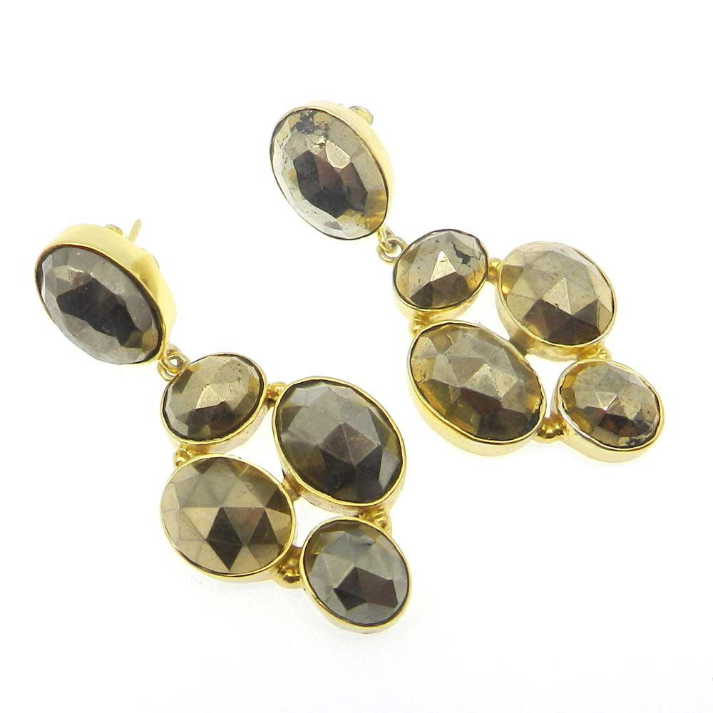 Golden Pyrite Oval Gold Plated Fool's Gold Bezel Stud Earring