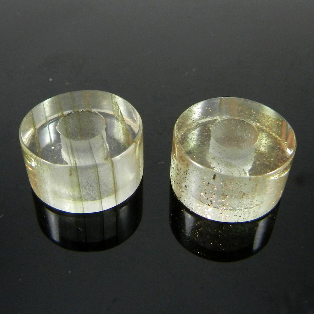 Golden Rutile Quartz Flat Smooth Big Hole Beads For Necklace Making